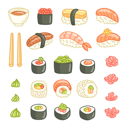 egg roll: Sushi and rolls vector illustrations collection isolated on white