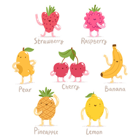 Funny cartoon fruits vector collection Vettoriali