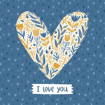 floral heart: Floral heart love vector card