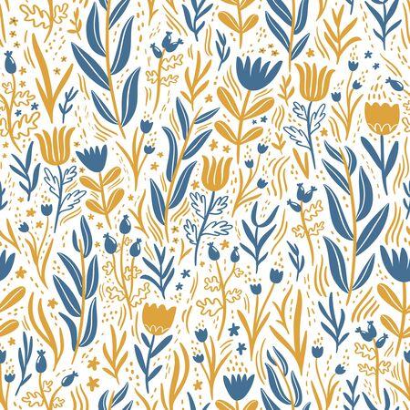 dark blue: Gold and dark blue floral seamless pattern Illustration