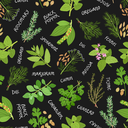 ayurveda: Herbs and spices seamless pattern on black background