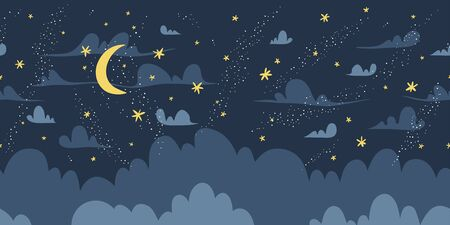 Night sky vector seamless pattern