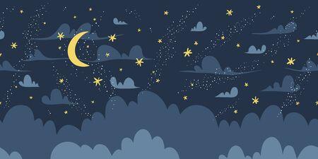 Night sky vector seamless pattern