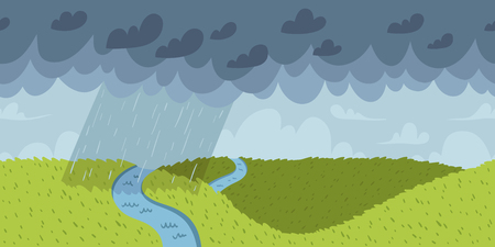 on the hill: Rainy landscape vector seamless pattern Illustration
