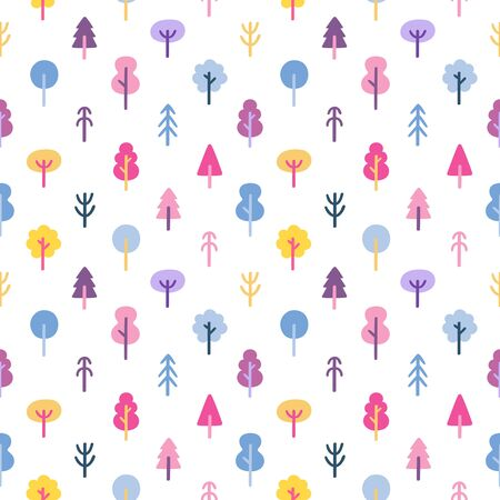 coniferous forest: Colorful trees in the park seamless pattern Illustration