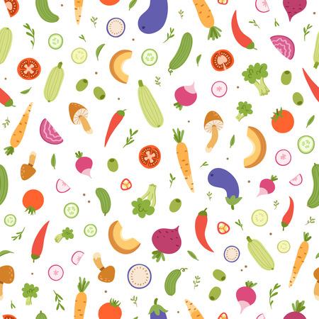 Gemengde groenten vector naadloos patroon Stock Illustratie