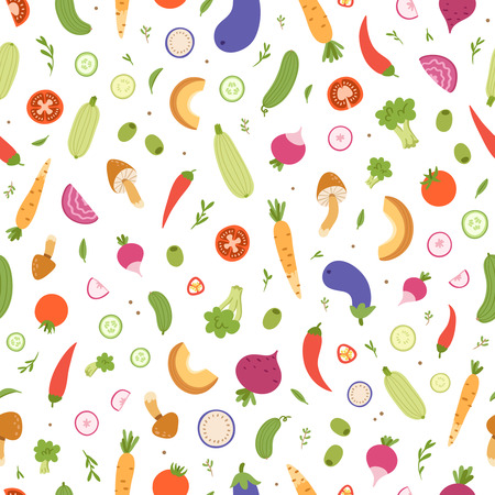 veggies: Mixed vegetables vector seamless pattern