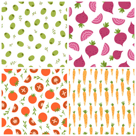 beetroot: 4 mixed vegetables seamless patterns set 2