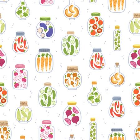 preserved: Preserved vegetables in jars seamless pattern Illustration