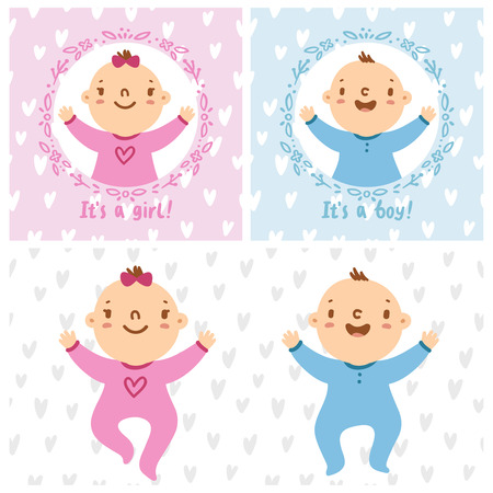 baby girl pink: Baby girl and baby boy infants vector illustration
