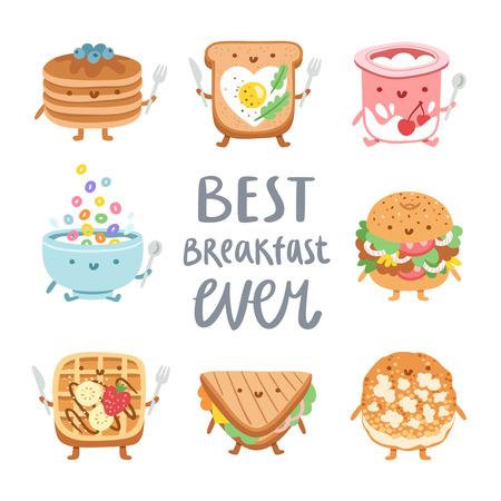 huevo caricatura: Mejor desayuno, colección de personajes de alimentos 8 vector