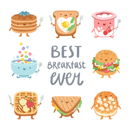Best breakfast ever, collection of 8 vector food characters