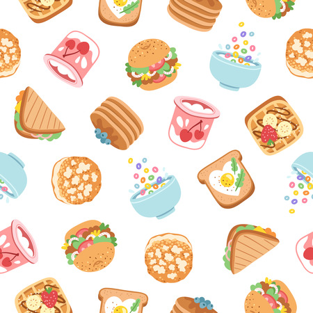 Breakfast yummy food seamless pattern