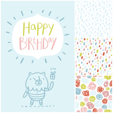 amazing: Birthday party card and seamless patterns vector set