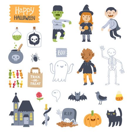 wolverine: Super set of Halloween vector illustrations Illustration