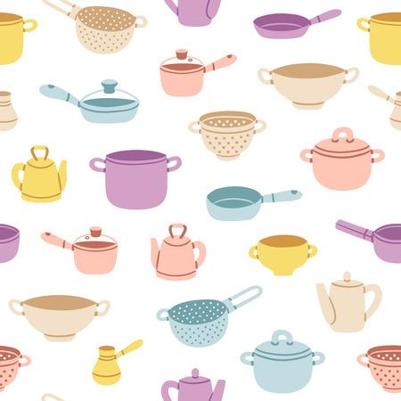 ustensiles de cuisine: Colorful vecteur d'ustensiles de cuisine de bande dessinée seamless