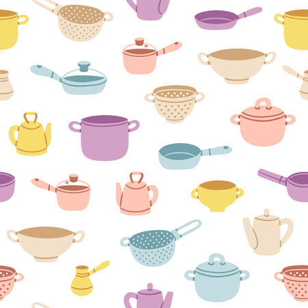 Colorful cartoon kitchenware vector seamless pattern Illustration