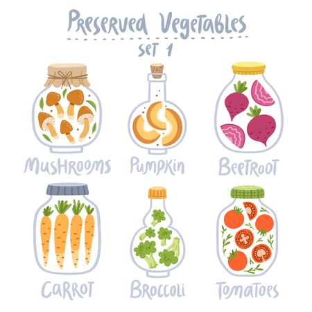 preserved: Collection of 6 preserved vector vegetables in jars isolated on white