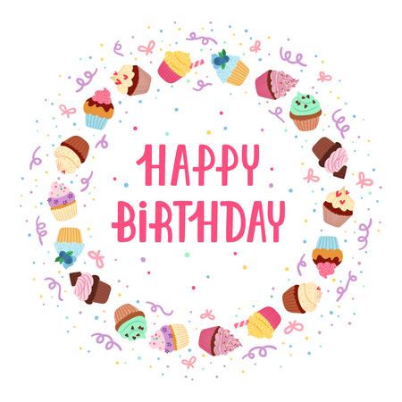 marco cumpleaños: Magdalenas del feliz cumpleaños Decoración del marco Vectores
