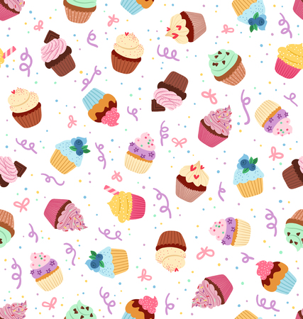 Little delicious cupcakes seamless pattern Vectores