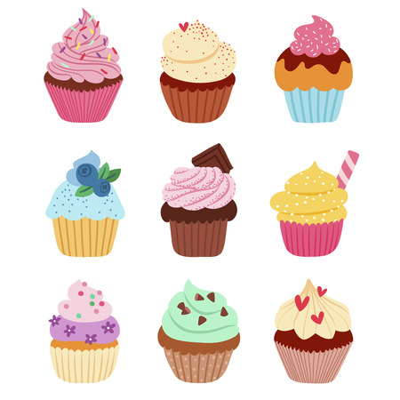 cartoon berries: Little delicious cupcakes vector set