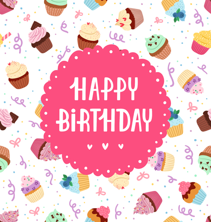 Happy birthday greeting on a cupcakes seamless pattern Illustration