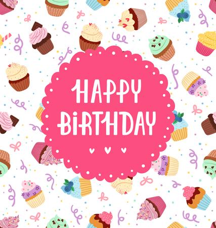 Happy birthday greeting on a cupcakes seamless pattern Çizim