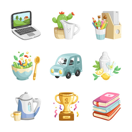 Collection of 9 colorful cartoon vector miscellaneous icons