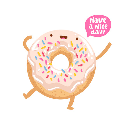 Funny donut character wishing you a good day Иллюстрация