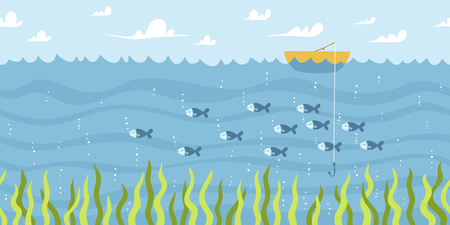 fishing boats: River fishing vector seamless background