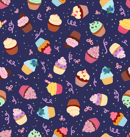 Cute little cupcakes seamless pattern on deep blue background