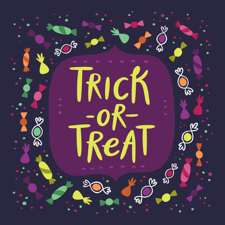 fun background: Halloween trick or treat candy card