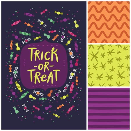 tratar: Halloween trick or treat card and abstract seamless patterns set