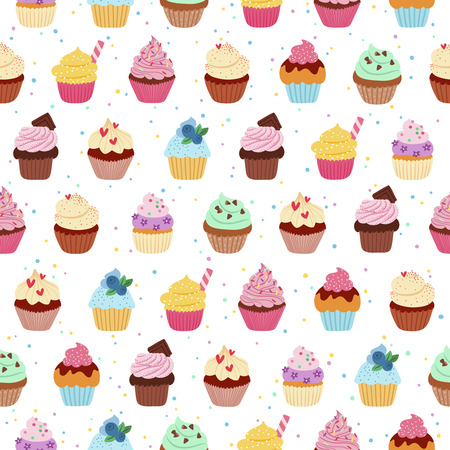 cartoon berries: Yummy cupcakes vector seamless pattern