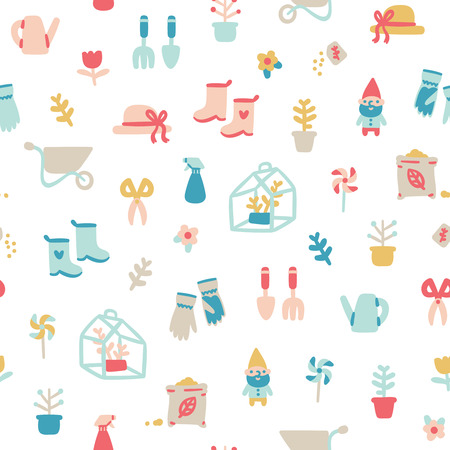 stuff: Garden stuff cartoon seamless pattern Illustration