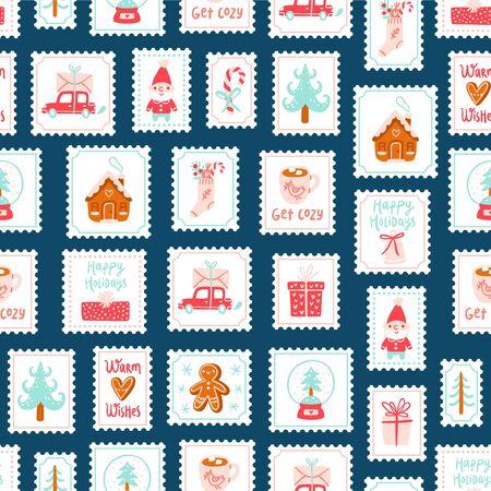 Winter holidays decorative post stamps seamless pattern background Illustration