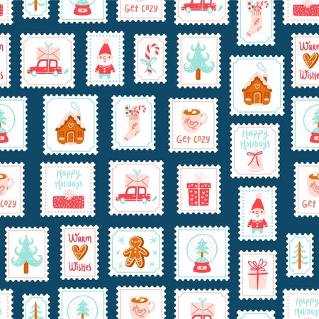 Winter holidays decorative post stamps seamless pattern background Ilustração
