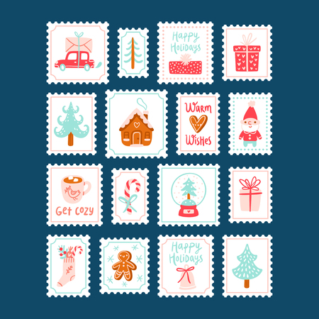 winter holidays: Winter holidays decorative post stamps collection isolated on blue Illustration