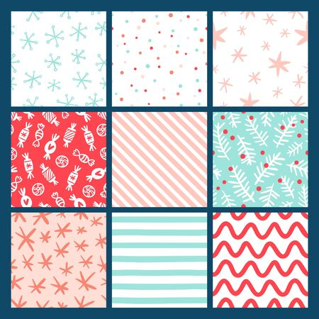 christmas paper: 9 Winter holidays seamless patterns collection