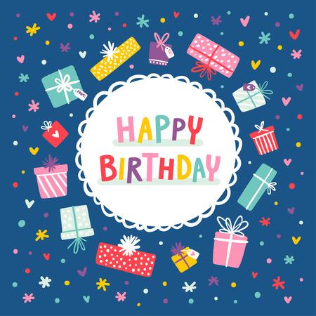 marco cumpleaños: tarjeta de cumpleaños y presenta el marco con confeti preciosas Vectores