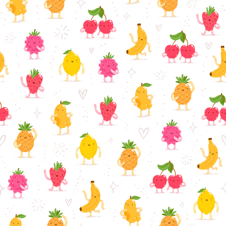 Cartoon fruit characters seamless pattern