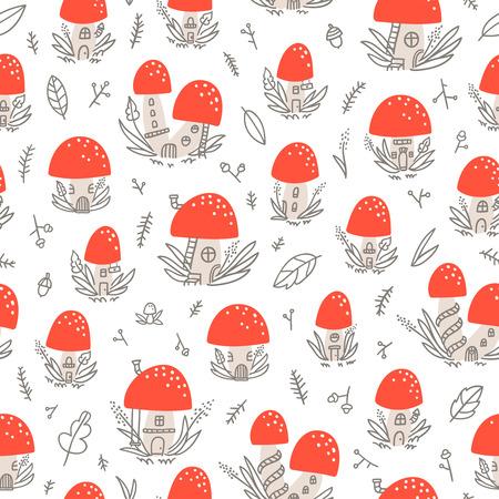 tiny: Tiny mushroom houses seamless pattern