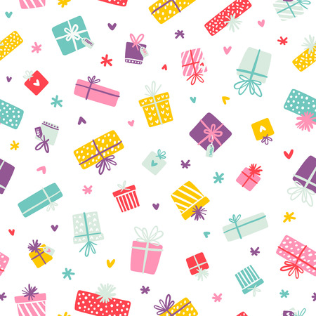 Party presents colorful seamless pattern with hearts and stars