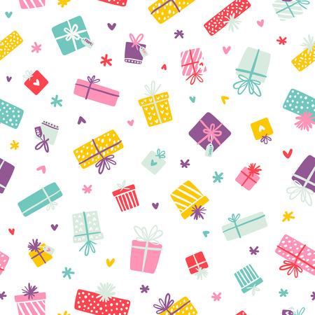 Partij presents kleurrijke naadloze patroon met hartjes en sterren Stock Illustratie