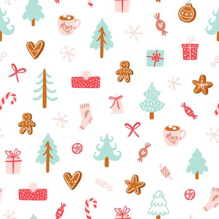 Winter holidays symbols seamless pattern Ilustração