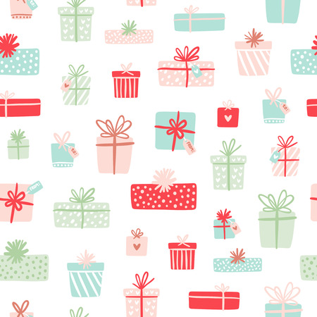 christmas backdrop: Cute party presents seamless pattern Illustration