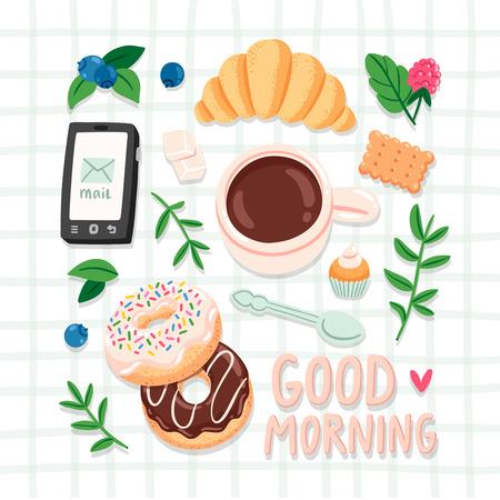 morning breakfast: Good morning, breakfast vector illustration Illustration
