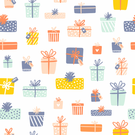 Party presents seamless pattern on white background Ilustração