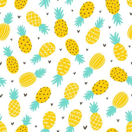 Ananas i serca bezszwowe tło wzór