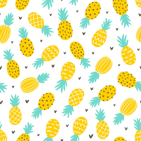 pineapple juice: Pineapple and hearts seamless pattern background